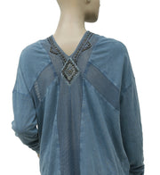 Free People Focus On Center Embellished Top Blue    S