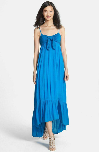 Free People Totally Tubular Smocked Blue High Low Maxi Dress XS