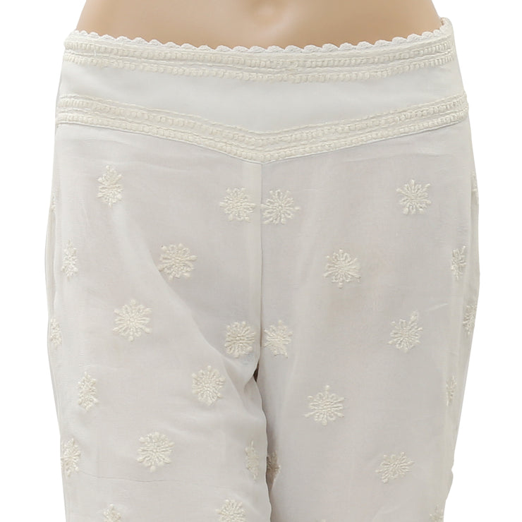 Free People Floral Embroidered Mini Shorts Ivory Boho M 8 New 177430