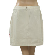 Topshop Floral Embroidered Mini Skirt High Waisted Cotton Cream Boho S NW