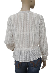Free People Embellished Lace White Sheer Blouse Top M