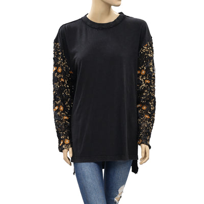 Free People Sequin Embellished Tunic Pullover Top L