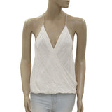 New Silence +Noise Embellished Embroidered Cotton White Blouse Tank Top M