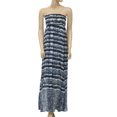 Lucky Brand Smocked Printed Tube Navy Maxi Dress XS