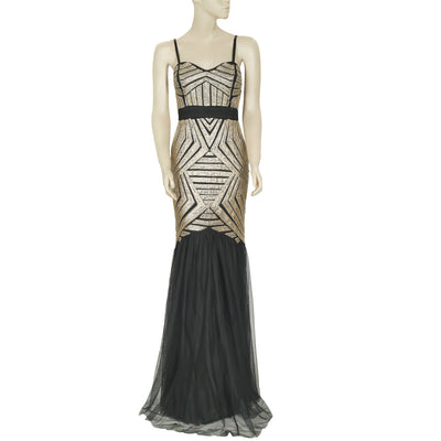 Lipsy Sequin Beaded Black Prom Gown Maxi Dress S