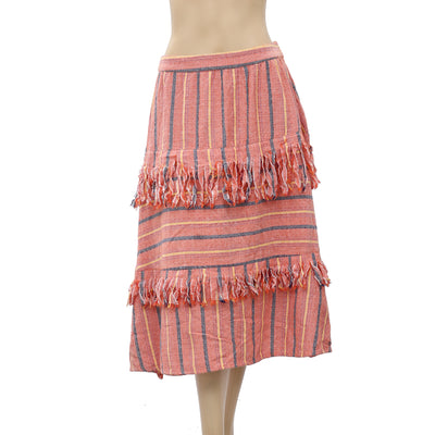 Free People Striped Midi Skirt S