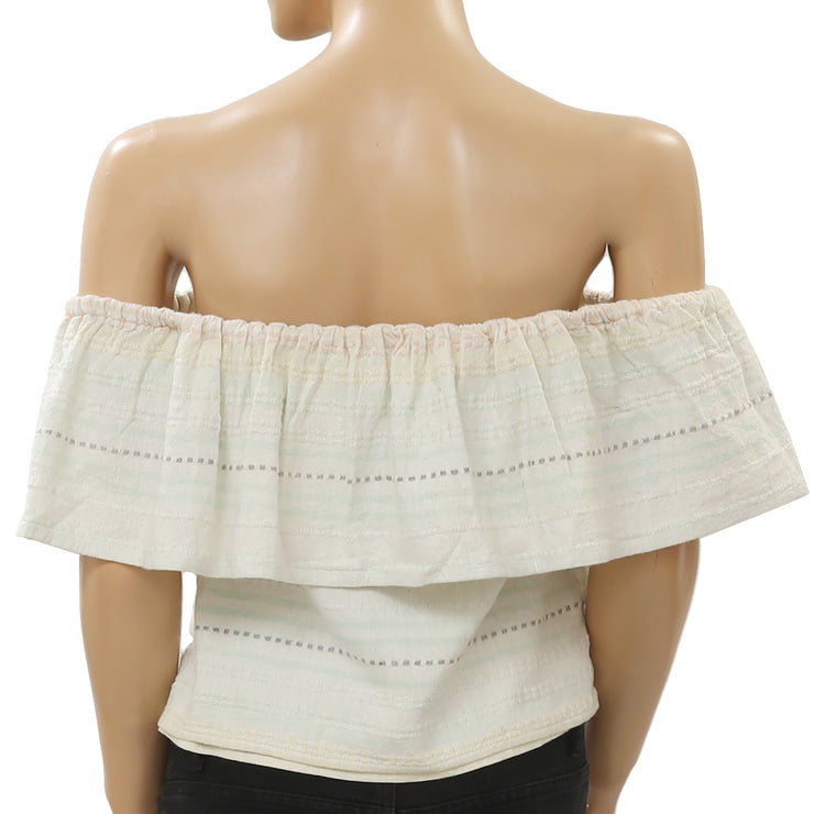 Mara Hoffman Piece Off Shoulder Crop Striped Top XS