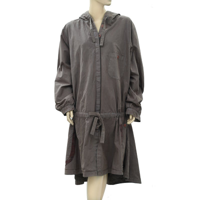 Ewa I Walla Peasant Lagenlook Cotton Coatigan Jacket Hoodie Dress L