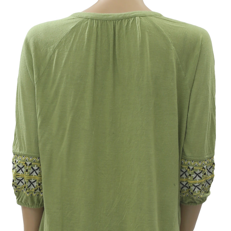 Free People Embroidered Blouse Top M