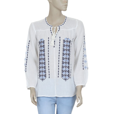 Joie Embroidered Tie Knot Peasant Long Sleeve  Top M