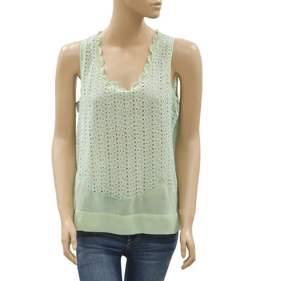 Joie Cutwork Embroidered Sleeveless Top M