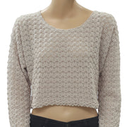 White Chocolate Crochet Pullover Crop Top L