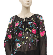 Roja Floral Embroidered Raglan Sleeve Top XL