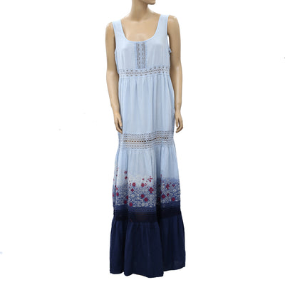 Odd Molly Anthropologie Embroidered Ombre Maxi Dress XL-4