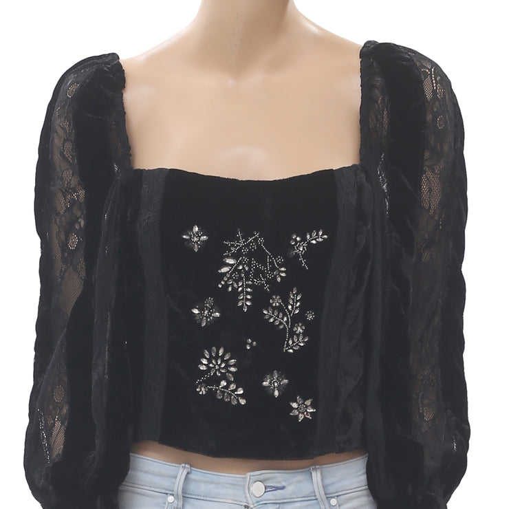 Uterque Velvet Embroidered Blouse Top Embellished Lace Black Boho M