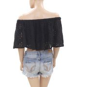 Free People Off Shoulder Embroidered  Top S