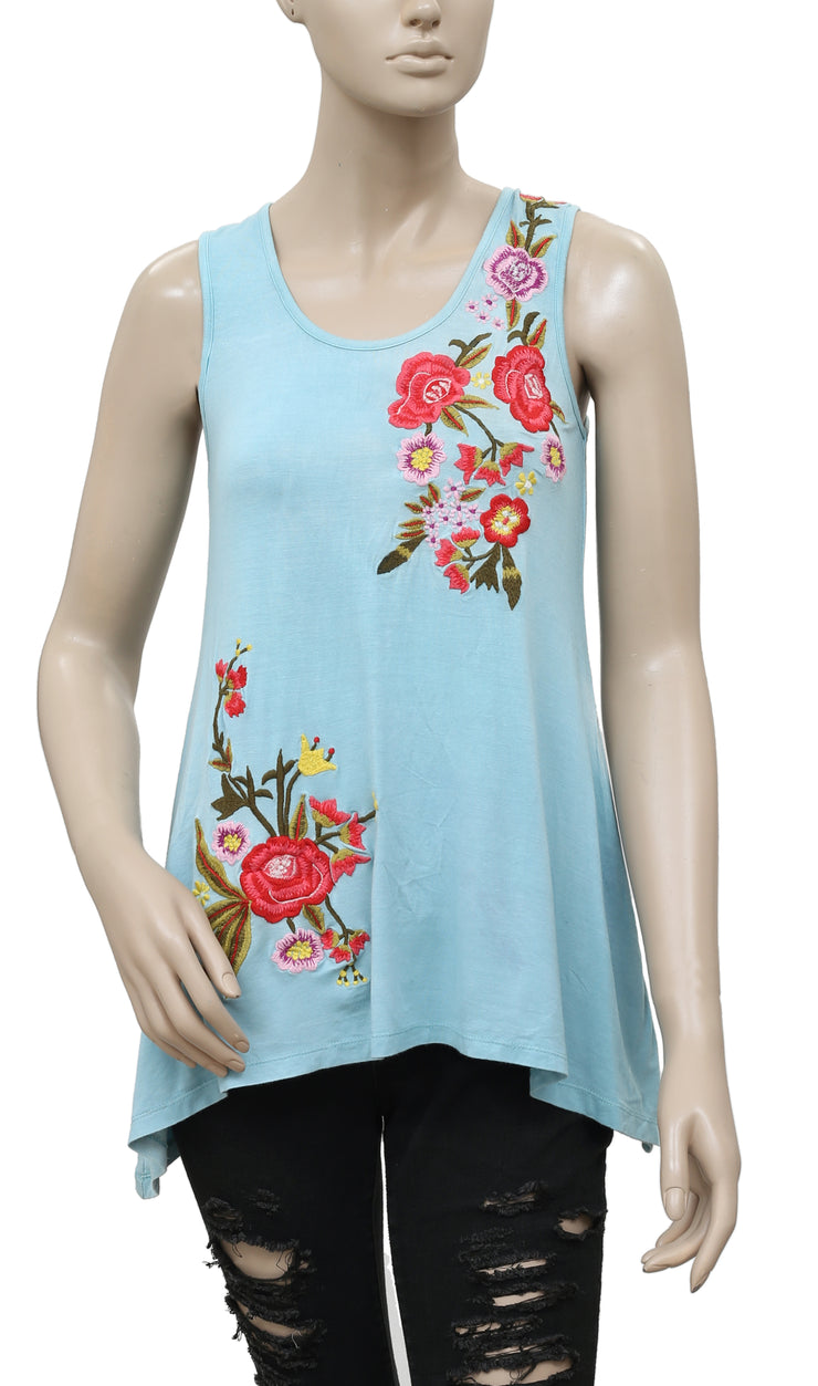 Caite Floral Embroidered Blue Top XXS