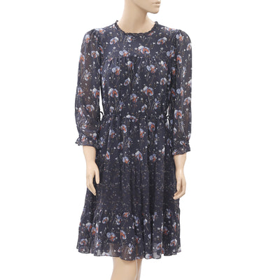 Ulla Johnson Floral Printed Tiered Cutout Ruffle Gray Mini Dress S