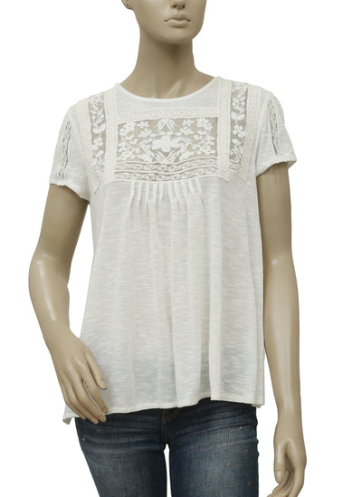 Kimchi Blue Embroidered Pintuck Ivory Top M