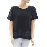 Zara Trafaluc Embroidered Blouse Top Sequin Beaded Embellished Black M