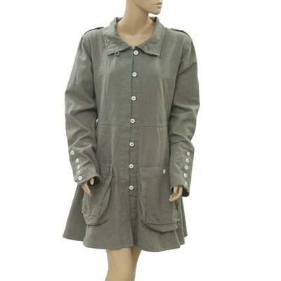 Ewa I Walla Peasant Lagenlook Vintage Buttondown Coat Dress M