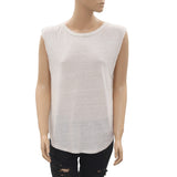 New Free People Lace up Ivory High & Low Boho Tank Blouse Top Medium M
