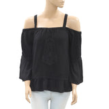 Denim & Supply Crochet Blouse Top Lace Cold Shoulder Black XS New