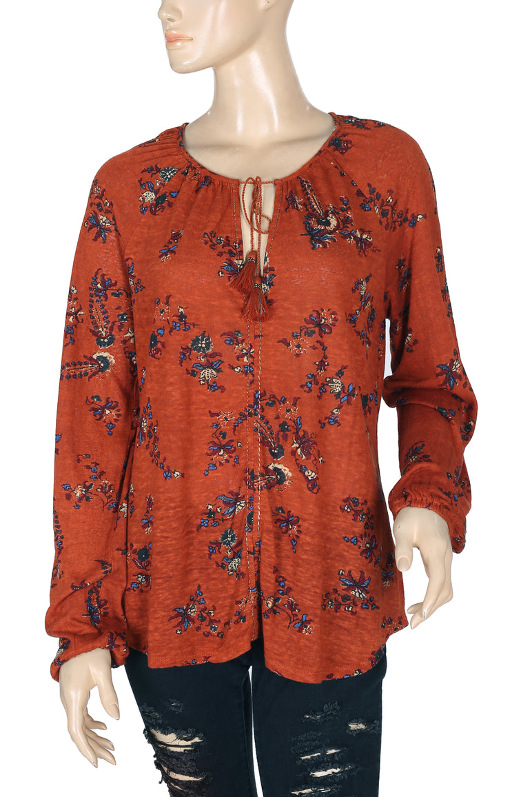Lucky Brand Printed Cotton Brown Top M