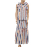Ulla Johnson Striped Printed Ruffle Front Tie Blouse Top Maxi Skirt S