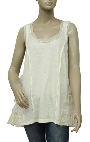 Lilka Anthropologie Embroidered Ruffle Boho Mesh Ivory Tunic Top M