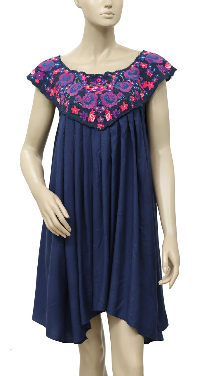 Free People In The Flowers Embroidered Mini Dress Navy S