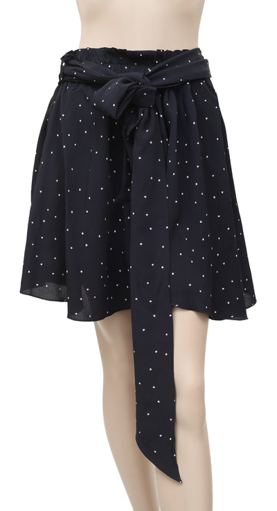 White Chocolate Stars Printed Black Skirt Extra Small XS