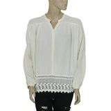 Denim & Supply Ralph Lauren Crochet Ivory Blouse Top XS