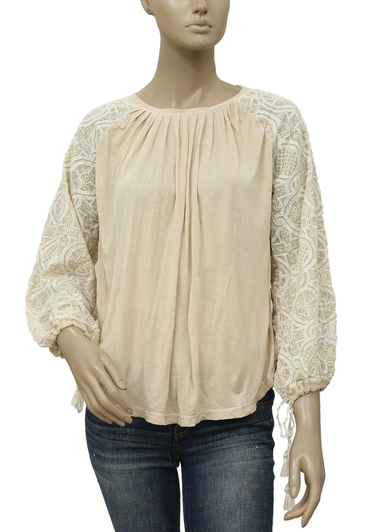 Free People Embroidered Beige Pleated Blouse Top M