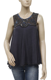 Free People Embellished Lace Sleeveless Tunic Top S
