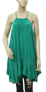 Free People Embroidered Green Tunic Dress S