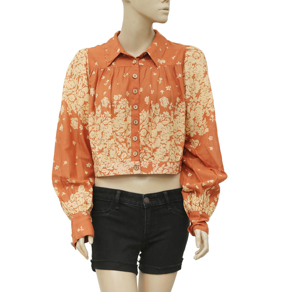 4334391dcd63 NWT Free People Floral Printed Dolman Sleeves Button down Blouse Top L –  White Chocolate Couture