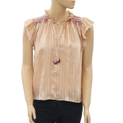 Ulla Johnson Deja Embroidered Silk Blouse Top Rose Pink Striped S NWT