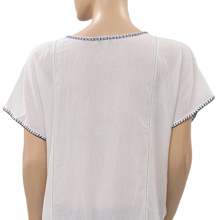 Madewell Embroidered Tunic Top Pom Pom Kimono Sleeve Cotton Ivory M
