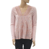 Odd Molly Anthropologie Embroidered Lace Blouse Top Peach Cotton S NEW