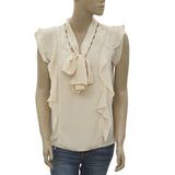 New Love Sam Ruffle Boho Front Tie Summer Beige Blouse Top M