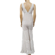 Free People Crochet Lace Striped Jumpsuit Dress XS