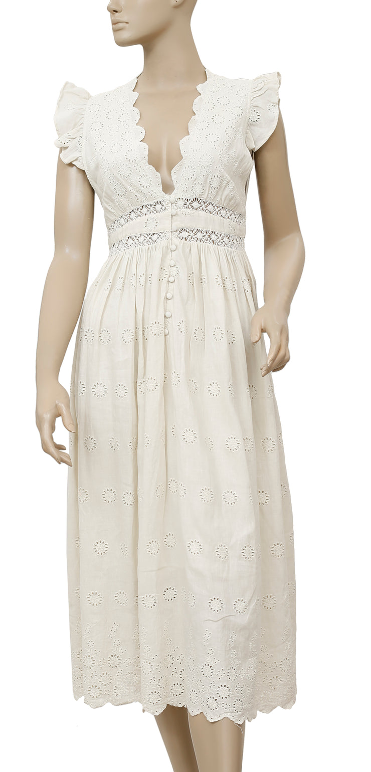 Free People Eyelet Embroidered Ruffle Dress XS