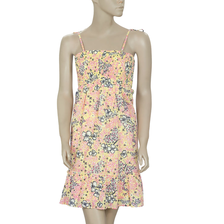 Lilly Pulitzer Printed Smocked Tie Knot Ruffle Yellow Mini Dress XS