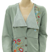 Caite Anthropologie Embroidered Cardigan Top Floral Buttondown Green S