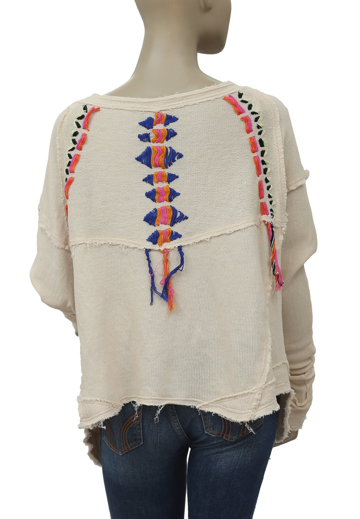 Free People Lead The Way Thread Sweatshirt Top S