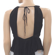 Free People Hold On Tight Lace Black Tank  Top  XS