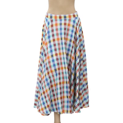 Free People Check & Plaid Printed Maxi Skirt S