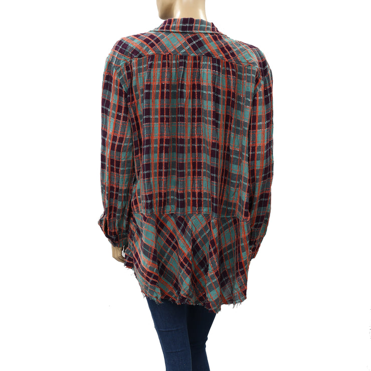Free People We The Free Lela Plaid Tunic Top S