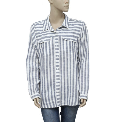 Lucky Brand Striped Printed Buttondown Pocket Shirt Top L